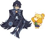 animal_crossing anthro bayonetta bayonetta_(character) canine clothed clothing crossed_arms cute dog duo eyewear female footwear fur ginsengandhoney_(artist) glasses high_heels human isabelle_(animal_crossing) light_skin mammal nintendo shih_tzu shoes simple_background sitting smile standing super_smash_bros super_smash_bros._ultimate video_games white_background yellow_fur