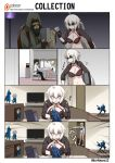 2boys 2girls 4koma action_figure ahoge bangs beard bikini black_bikini black_gloves black_hair black_hairband black_jacket blonde_hair blush braid chair chaldea_uniform choker comic commentary_request darkmaya devil_may_cry dollar_sign door edward_teach_(fate/grand_order) eighth_note eyebrows_visible_through_hair facial_hair fate/grand_order fate_(series) fujimaru_ritsuka_(male) gloves grin hair_between_eyes hairband hood hoodie jacket jeanne_d'arc_(alter_swimsuit_berserker) jeanne_d'arc_(fate)_(all) jeanne_d'arc_(swimsuit_archer) long_hair long_sleeves mask multiple_boys multiple_girls musical_note mustache o-ring o-ring_bikini sandals short_hair shrug_(clothing) silent_comic silver_hair single_braid sitting slamming_door smile sparkle sunglasses sweatdrop swimsuit table television vergil very_long_hair white_jacket yellow_eyes