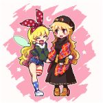 2girls :d ^_^ adapted_costume asymmetrical_legwear bag bangs beret black_dress black_hat black_legwear blonde_hair blue_legwear blush brown_footwear charm_(object) closed_eyes clownpiece commentary_request contemporary crescent dress earrings eyes_closed fairy full_body fur_collar green_coat handbag hat high_heels holding holding_bag holding_hand jewelry junko_(touhou) kneehighs kumamoto_(bbtonhk2) leg_up long_hair long_sleeves lowres mismatched_legwear multiple_girls open_mouth pigeon-toed pink_background pixel_art red_eyes shawl short_shorts shorts single_kneehigh single_thighhigh smile standing standing_on_one_leg star star_print striped striped_legwear thighhighs touhou two-tone_background very_long_hair wavy_hair