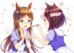 2girls :d animal_ears blue_eyes blush braid brown_hair clenched_hands eyebrows_visible_through_hair feeding food fork grass_wonder highres holding holding_fork horse_ears leaning_forward long_hair looking_at_another multicolored_hair multiple_girls nose_blush open_mouth profile purple_eyes ribbon school_uniform serafuku short_sleeves skirt smile sparkle special_week striped striped_ribbon sweatdrop tomo_(user_hes4085) two-tone_hair umamusume very_long_hair white_background white_hair white_skirt