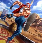1boy barrel baseball_cap blonde_hair blue_eyes blue_sky cloud commentary_request container denim desert dutch_angle fatal_fury fingerless_gloves gloves ground_vehicle hat highres jacket jeans kicking l.g_(greenforce1) long_hair looking_at_viewer male_focus mount_rushmore mountainous_horizon muscle open_mouth outdoors pants ponytail shoes sky sneakers snk solo tank_top terry_bogard the_king_of_fighters train vest white_tank_top wooden_floor