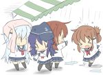 >_< 4girls akatsuki_(kantai_collection) anchor_symbol black_legwear blue_sailor_collar blue_skirt brown_hair chibi commentary_request eyes_closed flat_cap folded_ponytail hat hibiki_(kantai_collection) hizuki_yayoi ikazuchi_(kantai_collection) inazuma_(kantai_collection) kantai_collection kneehighs multiple_girls neckerchief pantyhose pink_towel pleated_skirt purple_hair rain red_neckwear sailor_collar short_hair silver_hair skirt thighhighs towel towel_on_head wet wet_clothes |_|