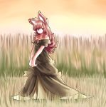 1girl absurdres alternate_color animal_ears breasts brooch brown_hair cleavage dress hh highres imaizumi_kagerou jewelry long_hair looking_at_viewer medium_breasts nature outdoors red_eyes solo touhou wolf_ears