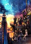4girls 6+boys against_wall animal_ears aqua_(kingdom_hearts) axel_(kingdom_hearts) black_coat black_coat_(kingdom_hearts) black_hair blonde_hair blue_eyes building city clock clock_tower coat commentary detached_sleeves disney donald_duck dress gargoyle goofy hat highres hood hoodie kairi_(kingdom_hearts) keyblade kingdom_hearts kingdom_hearts_iii ladder looking_to_the_side mickey_mouse mouse_ears mouse_tail multiple_boys multiple_girls namine nomura_tetsuya official_art over_shoulder red_hair riku roxas serious short_dress sitting skyscraper smile sora_(kingdom_hearts) spiked_hair square_enix standing strap tail terra_(kingdom_hearts) tower twilight ventus weapon weapon_over_shoulder xion_(kingdom_hearts)
