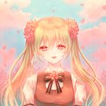1girl :d blue_sky bow bowtie cherry_blossoms cloud day esol_98 eyebrows_visible_through_hair floating_hair flower green_hair hair_between_eyes hair_flower hair_ornament hatsune_miku highres long_hair looking_at_viewer open_mouth outdoors pink_eyes pink_flower shirt short_sleeves sky smile solo striped striped_bow striped_neckwear twintails upper_body very_long_hair vocaloid white_shirt