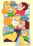 animal_crossing anthro clothed clothing comic duo english_text feet female fur hair human isabelle_(animal_crossing) male male/female mammal midnight-kinky-kitsune nintendo pussy speech_bubble sweat text video_games villager_(animal_crossing)