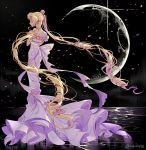 1girl back_bow bare_shoulders bishoujo_senshi_sailor_moon black_background blonde_hair bow double_bun dress eyes_closed facial_mark forehead_mark full_body inzup moon petals princess_serenity solo standing strapless strapless_dress tsukino_usagi twintails twitter_username white_bow white_dress