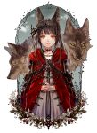 1girl animal animal_ears cloak dress expressionless flower highres hood hood_down little_red_riding_hood little_red_riding_hood_(grimm) original plant red_cloak senano-yu wolf wolf_ears yellow_eyes