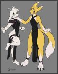 2018 anthro arashidrgn asriel_dreemurr boss_monster butt canine caprine clothed clothing digimon digimon_(species) duo female fully_clothed fur girly goat grey_background hair horn male mammal markings nipples simple_background taomon undertale video_games white_fur