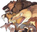 2005 ambiguous_gender andrewsarchus angry bear black_eyes black_fur black_nose brown_fur brown_nose brown_spots countershade_face countershade_torso countershading ears_back fangs feline feral frown fur gaping_mouth grey_fur group hyaenodon long_snout mammal marker_(artwork) marsupial mesonychid mixed_media muzzle_scabs open_frown open_mouth orange_fur orange_spots painting_(artwork) pen_(artwork) pink_nose pink_tongue quadruped red_nose roaring rosettes roz_gibson saber-toothed_cat sabertooth_(feature) sharp_teeth short-faced_bear side_view simple_background size_difference small_pupils snarling snout spots spotted_fur striped_fur stripes tan_countershading tan_fur teeth thylacoleo thylacosmilus tongue traditional_media_(artwork) unknown_species whiskers white_background white_countershading white_fur white_stripes xenosmilus yellow_sclera