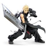 1boy absurdres alternate_costume asymmetrical_clothes black_gloves blonde_hair blue_eyes cloud_strife final_fantasy final_fantasy_vii final_fantasy_vii_advent_children gloves highres huge_filesize huge_weapon looking_at_viewer nintendo official_art pose serious solo spiked_hair super_smash_bros. super_smash_bros_ultimate sword transparent_background weapon