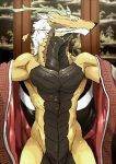abs anthro antlers athletic beard black_scales blue_eyes clothing detailed_background dragon eastern_dragon facial_hair hair horn invalid_tag luxury_gin male nude robe scales solo spread_arms standing tan_skin undressing whiskers white_hair