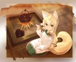 animal_ears apron bangs blonde_hair blush brown_eyes closed_mouth copyright_request cura eyebrows_visible_through_hair fire fox_ears fox_girl fox_tail green_kimono hair_between_eyes hair_ribbon highres holding japanese_clothes kappougi kettle kimono lap_pillow_invitation long_hair looking_at_viewer low-tied_long_hair mimikaki red_ribbon ribbon seiza sitting smile solo tail very_long_hair white_apron