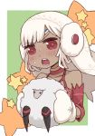 1girl altera_(fate) altera_the_santa animal bangs bare_shoulders blush choker collarbone comic_lo commentary_request dark_skin detached_sleeves earmuffs eyebrows_visible_through_hair fate/grand_order fate_(series) gloves headdress holding holding_animal i.u.y open_mouth red_eyes sheep short_hair star sweatdrop teeth upper_body veil white_gloves white_hair