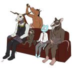 3_toes 4_toes age_difference animal_genitalia animal_penis anthro arm_wraps balls bandage black_bottomwear black_clothing black_hair black_nose black_topwear blue_balls blue_skin body_wraps bojack_horseman bojack_horseman_(character) bottle brown_skin canine cartoon_network chest_tuft clothed clothing crossover cum cum_drip cum_on_chest cum_on_clothing cum_on_face cum_on_penis cumshot demon dress_shirt drinking dripping ejaculation elias_ainsworth equine equine_penis erection eyes_closed facial_hair feet footwear fur goatee grey_balls grey_bottomwear grey_clothing grey_fur grin group group_masturbation guardians_of_the_galaxy gumball_watterson hair handjob hindpaw holding_object horn horse humanoid_penis larger_male licking licking_lips looking_down male male/male mammal mane marvel masturbation mostly_nude necktie nervous nipples nude older_male orgasm orgasm_face pants pants_down partially_clothed partially_retracted_foreskin pawpads paws penile_masturbation penis penis_grab pink_nipples pink_penis procyonid purple_penis purple_skin raccoon rocket_raccoon sex sharp_teeth shirt shoes simple_background sitting size_difference skull skull_head sleepytoy smaller_male smile snout sofa soles splinter standing striped_tail stripes sweat tapering_penis teenage_mutant_ninja_turtles teeth the_amazing_world_of_gumball the_ancient_magus_bride toes tongue tongue_out tuft uncut vein veiny_penis white_background white_clothing white_topwear wraps younger_male