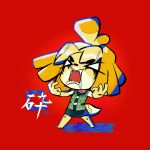 1girl absurdres aggressive_retsuko animal_ears blonde_hair dog dog_ears dog_girl dog_tail doubutsu_no_mori furry highres makeup nem_graphics nintendo open_mouth shizue_(doubutsu_no_mori) short_hair simple_background skirt smile solo super_smash_bros. super_smash_bros_ultimate tail topknot