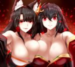 2girls absurdres ahoge akagi_(azur_lane) animal_ears armpit_peek asymmetrical_docking azur_lane bangs bare_shoulders black_hair black_kimono blunt_bangs blush breast_press breasts cleavage collarbone commentary_request eyebrows_visible_through_hair eyeliner eyeshadow fox_ears hair_between_eyes hair_ornament highres japanese_clothes kimono kitsune large_breasts long_hair looking_at_viewer makeup minarai_tenna multiple_girls parted_lips red_eyes revision smile taihou_(azur_lane) trait_connection upper_body wide_sleeves yandere