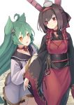 2girls :3 ahoge akashi_(azur_lane) animal_ears apron azur_lane bangs black_hair black_kimono blush bunny_ears cat_ears choker closed_mouth eyebrows_visible_through_hair eyes_visible_through_hair flame_print green_hair hair_between_eyes hairband highres japanese_clothes kimono long_sleeves looking_at_another multiple_girls object_on_head open_mouth red_apron red_choker red_eyes red_hairband shiranui_(azur_lane) twitter_username wide_sleeves yellow_eyes yu_ni_t