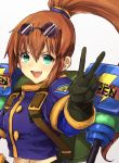 1girl :d blue_shirt breasts brown_hair commentary_request crop_top eyewear_on_head gloves green_eyes hair_between_eyes jacket long_hair looking_at_viewer mechanical_arm murata_tefu navel open_mouth ponytail precis_neumann shirt simple_background smile solo star_ocean star_ocean_the_second_story v