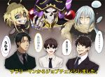 1girl 1other 4boys ainz_ooal_gown androgynous black_hair blonde_hair blue_eyes brown_hair cropped_torso crossover dress_shirt evil_grin evil_smile formal grin highres mikami_satoru multiple_boys multiple_crossover necktie open_mouth overlord_(maruyama) projected_inset rimuru_tempest sakusan_yousoeki salaryman scarf shirt skeleton slime smile suit suzuki_satoru tanya_degurechaff tensei_shitara_slime_datta_ken trait_connection translation_request yellow_eyes youjo_senki