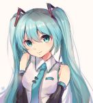 1girl aqua_eyes aqua_hair bangs hair_between_eyes hatsune_miku highres liuli88 long_hair looking_at_viewer necktie solo twintails upper_body vocaloid