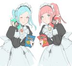 2girls apron blue_eyes blue_hair doritos felicia_(fire_emblem_if) fire_emblem fire_emblem_if flora_(fire_emblem_if) food jivke long_hair maid maid_apron maid_headdress multiple_girls nintendo pink_hair ponytail simple_background smile twintails