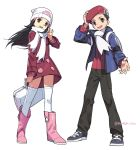 1boy 1girl absurdres adjusting_headwear arm_up artist_name backpack bag beanie black_eyes black_hair black_pants blue_eyes blue_jacket boots bracelet bumbum_hico coat duffel_bag flat_chest full_body grey_footwear hair_ornament hairclip hand_up happy hat highres hikari_(pokemon) holding jacket jewelry kouki_(pokemon) long_hair long_sleeves matching_hair/eyes open_mouth outstretched_arm pants pink_footwear poke_ball_symbol poke_ball_theme pokemon pokemon_(game) pokemon_dppt pokemon_platinum red_coat red_hat red_shirt scarf shirt short_hair simple_background smile standing teeth thighhighs twitter_username waving white_background white_hat white_legwear white_scarf winter_clothes