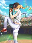 1girl baseball baseball_glove baseball_jersey baseball_stadium baseball_uniform black_hat blonde_hair blue_eyes blue_sky blurry blurry_background cloud floating_hair hat highres leg_up long_hair mosta_(lo1777789) original pants ponytail red_footwear shirt shoes short_sleeves sky sneakers solo sportswear standing standing_on_one_leg white_pants white_shirt
