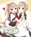 2girls :d apron bangs black_shirt black_skirt blush bow bowtie breasts center_frills closed_mouth collared_shirt commentary_request eyebrows_visible_through_hair fang fang_out flower frilled_apron frilled_skirt frills green_eyes hair_between_eyes hair_flower hair_ornament hand_holding hand_up head_tilt heart interlocked_fingers light_brown_hair long_hair looking_at_viewer looking_to_the_side maid masuishi_kinoto multiple_girls necktie open_mouth orange_flower original puffy_short_sleeves puffy_sleeves red_neckwear shirt short_hair short_sleeves siblings sisters skirt smile translation_request twins two_side_up underboob very_long_hair waist_apron white_apron white_bow white_shirt wrist_cuffs