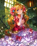 1girl blonde_hair blue_eyes blue_flower bow chains choker collarbone copyright_name floating_hair flower frilled_skirt frills gem gloves grey_gloves hair_flower hair_ornament indoors layered_skirt long_hair long_skirt official_art red_bow red_flower rioka_(southern_blue_sky) short_sleeves sitting skirt solo sparkle tenkuu_no_crystalia twintails very_long_hair white_skirt