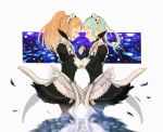 2girls artist_name blue_hair bridal_gauntlets closed_mouth eyes_closed feathers felicia_(fire_emblem_if) fire_emblem fire_emblem_if flora_(fire_emblem_if) from_side gem hand_holding juliet_sleeves long_hair long_sleeves maid maid_headdress multiple_girls nintendo open_mouth pink_hair ponytail puffy_sleeves sasaki_(dkenpisss) siblings sisters twintails
