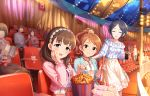 3girls :d black_hair blue_eyes blush_stickers brown_eyes brown_hair circus clover diamond_(shape) drink eyes_closed flower food frills hair_flower hair_ornament hairband hand_on_own_cheek hayami_kanade heart highres houjou_karen idolmaster idolmaster_cinderella_girls idolmaster_cinderella_girls_starlight_stage jacket long_hair looking_at_viewer multiple_girls official_art open_mouth people ponytail popcorn sakuma_mayu seat short_hair skirt smile stage_lights star