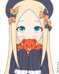 1girl abigail_williams_(fate/grand_order) absurdres atsumisu bangs black_bow black_dress black_hat blonde_hair blue_eyes blush bow closed_mouth commentary_request dress fate/grand_order fate_(series) forehead hair_bow hat highres holding holding_stuffed_animal long_hair long_sleeves orange_bow parted_bangs polka_dot polka_dot_bow simple_background sleeves_past_fingers sleeves_past_wrists smile solo stuffed_animal stuffed_toy teddy_bear twitter_username very_long_hair white_background