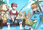 2boys :/ absurdres alolan_exeggutor arcanine barefoot black_shirt blue_pants blue_sky brown_eyes brown_hair charizard cloud creatures_(company) dratini exeggutor fishing fishing_rod game_freak gen_1_pokemon grass hand_on_own_cheek highres huge_filesize knees_up lapras looking_at_viewer male_focus multiple_boys nintendo ookido_shigeru outdoors pants pikachu pokemon pokemon_(creature) pokemon_(game) pokemon_sm red_(pokemon) shirt sitting sky soaking_feet sweat t-shirt wristband