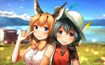 2girls animal_ears backpack bag bare_shoulders black_gloves black_hair blonde_hair blue_eyes blue_hair blue_sky blurry blurry_background bow bowtie bucket_hat caracal_(kemono_friends) caracal_ears center_frills commentary day depth_of_field elbow_gloves eyebrows_visible_through_hair fang gloves green_eyes grin hair_ornament hat hat_feather kaban_(kemono_friends) kemono_friends looking_at_viewer medium_hair multicolored_hair multiple_girls outdoors red_shirt shirt short_hair short_sleeves signature sky sleeveless sleeveless_shirt smile t-shirt upper_body v welt_(kinsei_koutenkyoku) white_hat white_shirt