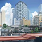 apartment architecture blue_sky boat building city cloud cloudy_sky day dock dog east_asian_architecture highres kusakabe_(kusakabeworks) no_humans original photo-referenced pole real_world_location revision scenery sky tokyo_(city) tree watercraft