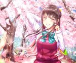 1girl bangs blue_sky blush bow bowtie breasts brown_hair cherry_blossoms collared_shirt day dress fang floating_hair grin hair_ribbon halterneck hand_behind_head highres kantai_collection light_rays long_hair long_sleeves looking_at_viewer medium_breasts multicolored_hair naganami_(kantai_collection) outdoors petals pink_hair ribbon sabakuomoto school_uniform scratching_cheek shirt sidelocks sky smile solo standing sunlight tree two-tone_hair upper_body water_drop white_shirt wind wind_lift yellow_eyes