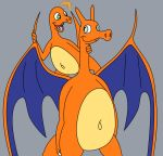 ambiguous_gender anthro charizard charmander cute dragon duo fire grey_background lizard nintendo nude pokémon pokémon_(species) reptile scalie simple_background size_difference video_games