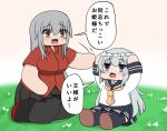 2girls black_skirt blue_eyes bokota_(bokobokota) breasts brown_eyes eyebrows_visible_through_hair flower gangut_(kantai_collection) grey_hair hair_between_eyes hair_flower hair_ornament hibiki_(kantai_collection) highres kantai_collection large_breasts long_hair long_sleeves looking_at_another looking_at_viewer miniskirt multiple_girls neckerchief pantyhose red_shirt sailor_collar school_uniform shirt short_sleeves silver_hair skirt translation_request yellow_neckwear