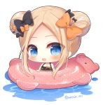 1girl :d abigail_williams_(fate/grand_order) bangs bare_shoulders big_head bikini black_bikini black_bow blonde_hair blue_eyes blush bow chibi collarbone commentary_request double_bun emerald_float eyebrows_visible_through_hair fate/grand_order fate_(series) forehead hair_bow innertube looking_at_viewer open_mouth orange_bow parted_bangs polka_dot polka_dot_bow polka_dot_innertube side_bun sidelocks smile solo swimsuit twitter_username water white_background yukiyuki_441