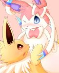 3_toes ambiguous_gender black_nose blue_eyes blush bow brown_eyes canine eeveelution feral fur jolteon mammal nintendo one_eye_closed open_mouth pink_ears pink_fur pokémon pokémon_(species) purple_fur ribbons snout sylveon toes tongue video_games white_fur white_skin yellow_fur yukimi_rumine