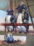 bicorne bird blue_sky day fantasy hat highres looking_at_viewer no_humans original osafune_ai outdoors penguin railing rope royal_navy sails ship shirt sitting sky sleeping standing striped striped_shirt watercraft