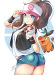 1girl baseball_cap blue_eyes breasts brown_hair cowboy_shot creatures_(company) denim denim_shorts from_side game_freak gen_5_pokemon half-closed_eyes hat hat_tip highres looking_at_viewer looking_back nintendo poke_ball pokemon pokemon_(creature) pokemon_(game) pokemon_bw ponytail racket_ti1 short_shorts shorts simple_background smile solo tank_top tepig touko_(pokemon) vest white_background wristband
