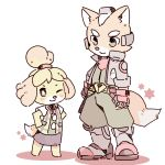2018 animal_crossing anthro blush boots brown_fur canine clothing crossover dipstick_tail duo female footwear fox fox_mccloud fur gloves hi_res isabelle_(animal_crossing) jacket long_ears male mammal multicolored_tail nintendo one_eye_closed smile star_fox video_games white_fur wink yellow_fur あんこもち