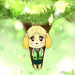 animal_crossing barefoot black_eyes blonde_hair blush blush_stickers canine clothing compression_artifacts dog female fur grass hair hands_behind_back happy isabelle_(animal_crossing) looking_at_viewer looking_up mammal nintendo outside ribbons sake_(pixiv) shih_tzu shirt short_hair skirt smile solo tied_hair topknot tree vest video_games yellow_fur