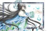 1girl bangs black_hair blue_cape blue_eyes bubble cape floating_hair frame houshin_engi jewelry long_hair open_palms outside_border outstretched_arms profile ring ryuukitsu_koushu simple_background solo tayana_(ddxc8574) very_long_hair white_background