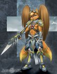 abluedeer anthro armor canine clothed clothing feathered_wings feathers fox fur hybrid male mammal midriff navel orange_fur pink_eyes solo standing unconvincing_armor wings