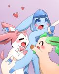 <3 3_toes :3 ^_^ ambiguous_gender black_nose blue_fur blue_paws blush bound bow brown_paws cute ears_back ears_down eeveelution eyes_closed feral fur glaceon green_ears happy hug leafeon markings nintendo open_mouth pink_ears pink_fur pink_tail pokémon pokémon_(species) questionable_consent ribbons smile socks_(marking) spread_legs spreading sum sylveon tan_fur toes tongue video_games white_fur