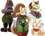 anthro athletic belt biceps black_nose blush boots brown_fur canine clothed clothing crossed_arms flexing footwear fox fox_mccloud fur green_eyes hair hand_behind_head headwear jacket jumpsuit kemono looking_at_viewer male mammal microphone model_sheet muscular nintendo pants pecs pose scarf shirt simple_background smile solo sssonic2 standing star_fox suit tan_fur topless video_games white_background white_fur white_hair wide_hips