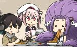 +++ 3girls :d absurdly_long_hair aircraft airplane apron black_serafuku brown_eyes brown_hair chopsticks commentary_request dated eating food gloves hair_between_eyes hamu_koutarou harusame_(kantai_collection) hat hatsuharu_(kantai_collection) headphones highres holding holding_chopsticks japanese_clothes kantai_collection kasuga_maru_(kantai_collection) long_hair multiple_girls open_mouth pink_hair prehensile_hair purple_hair red_eyes remodel_(kantai_collection) sailor_hat school_uniform serafuku short_hair short_sleeves sleeveless smile taiyou_(kantai_collection) very_long_hair white_apron white_gloves white_hat